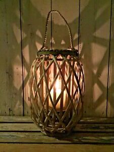 Stunning Brand New Large 35 cm Grey Wash Wicker Candle Lantern Garden Home Decor