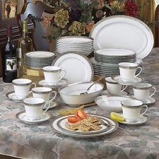 Noritake Crestwood platinum 50-pc Dinnerware Set Service/8+Bowl Platter FREESHIP
