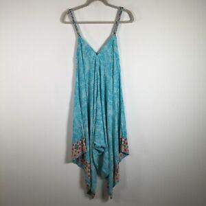 Blue Soul womens jumpsuit size 12 blue geometric crop leg rayon V neck sleeveles