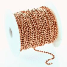 100 Feet 2.4mm Solid Copper Ball Chain #3 + Plus 250 Connectors ~  Bulk Footage