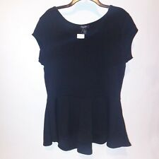 Rouge Plus Size 2X Peplum High Low Blouse Shirt Short Sleeve Black NEW