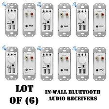 Lot of (6) Pyle PWPBT67 In-Wall Bluetooth Audio Receiver, Dual USB Charger, AUX