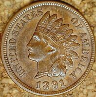 1891 Indian Head Cent - ATTRACTIVE LIGHTLY CIRCULATED AU+ (M129)