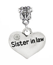 Sister in Law Heart Rhinestone Gift Dangle Charm for European Bead Bracelets