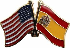 USA - SPAIN FRIENDSHIP CROSSED FLAGS LAPEL PIN - NEW - COUNTRY PIN