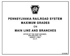 Pennsylvania RR System Maximum Grades on Mainlines and Branches 1923 CS-600B PRR