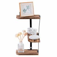 Costway Wall Corner Shelves 3-Tier Rustic Wood Floating Display Storage Shelves