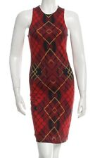 RARE Alexander McQueen Holiday red black plaid body con knit jersey dress S M