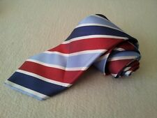 MK0010 walbusch Krawatte 100% Seide hellblau,blau,rot,weiß gestreift 149cm Gut
