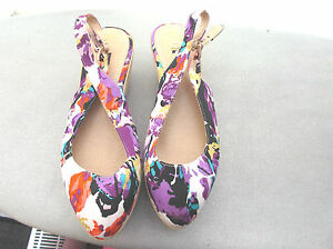 """next"" ladies floral wedge shoes size 4"