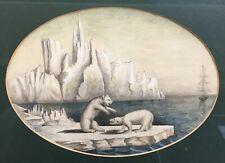 Aquarelle ancienne signée et datée 1846, Ours polaires sur la banquise, XIXe