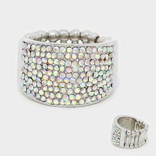 Cocktail Ring Large Wide Cluster Pave Rhinestone Stretch Band Crystal Silver AB