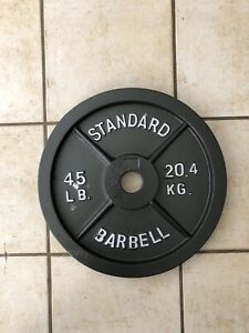 """NEW 45LB STANDARD OLYMPIC IRON WEIGHT PLATE 2"""" HOLES HOME GYM"""