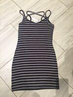 NWT Garage Summer Beach Navy White Striped Dress Size M Vacation