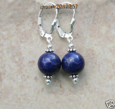 12mm Natural Blue Lapis Lazuli Gemstone Leverback silver Dangle Earrings