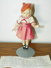 """Rare Vintage 7"""" Japan Bisque Doll Hair French Style Beret Jointed             I8"""