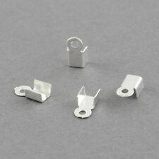 LOT de 150 EMBOUTS à écraser plier 6,5 x 2,5mm ARGENTES perles cordon fil bijoux
