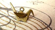 Origami crane 5 antique bronze vintage style pendant jewellery supplies