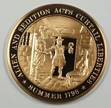 History of the U.S Alien & Sedition Acts Curtail Liberties (1798)PR Bronze Medal