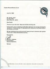 Richard L Andersen Pittsburgh Pirates Florida Marlins Vice President Signed TSL