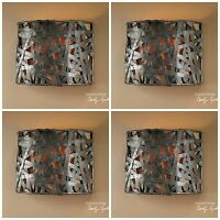 FOUR NEW RUST BLACK METAL STRAPS WALL SCONCE LIGHTS FIXTURES RUSTIC TUSCAN