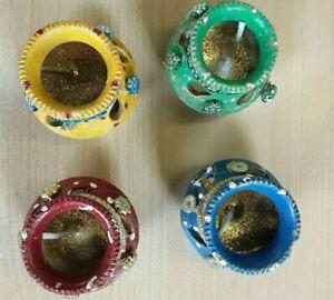 8 x Clay Diya Diva Diwali Matki With Wax Oil Lamp Burner Candle Holder Gift Xmas