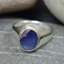 Blue Sapphire Natural Bold 5 Ct 925 Sterling Silver Ring For Men in ALL SIZES