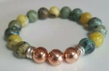 African/Yellow Turquoise,Rose Gold beads & Links Of London silver rings Bracelet