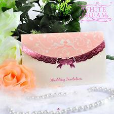 Personalised Elegant Pink Wedding Invitations Day/Evening FREE ENVELOPES