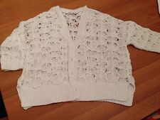 White cotton look knit cardigan - size 12