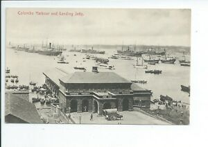 Printed postcard the harbour and landing jetty Colombo Ceylon good condition