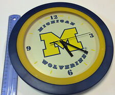 Collectible Michigan Wolverine 10in.wall clock - cool blue/yellow/white - K125A