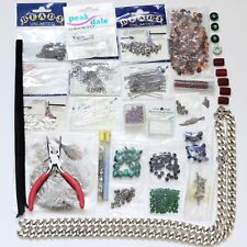 Jewellery Making Kit Bundle Beads Pliers Chain Ribbon Feathers Crimps Findings