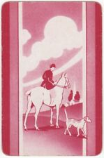 Playing Cards 1 Swap Card - Old Vintage HUNTING HORSE DOG Church Spire ART 2