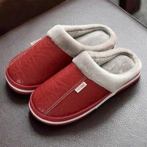 Pu Leather Plush Slip On Fluffy Warm Winter House Slippers For Unisex Flip Flops