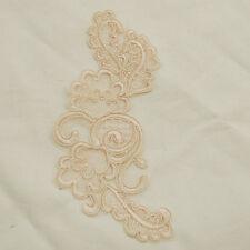 2 Embroidery Corded Organza Lace Applique Motif Light Champagne - 18cm - M35