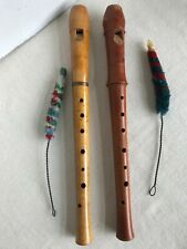 Pair of Vtg German Wood Flute Recorders TUJU Moeck & Alex Heinrich w/ Brush 1970