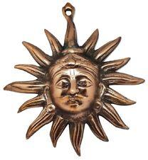 More details for wall plaque sun face lord suraj devta hindu blessing surya metal bronzed 24cm
