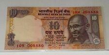 INDIA Rs 10 RUPEES Fancy Serial Number 10M-008880 UNC BANKNOTE MAHATMA GANDHI