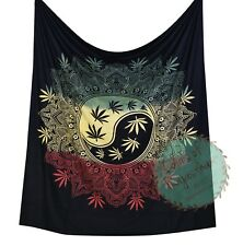 Black Marijuana Tapestry Rasta Dye Cannabis Leaf Ying Yang Queen Wall Hanging