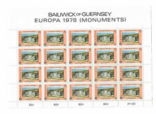 Guernsey postage Stamps sheet 20 x 5p  1978 EUROPA Stamps - Monuments