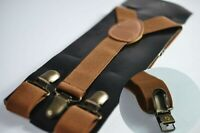Toffee Tan Brown Elastic Suspenders Braces with Bronze Metal Clips For all ages