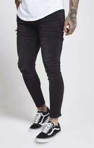Sik Silk Mens SS12995 Washed Black Designer Skinny Freyed Distress Denim Jeans