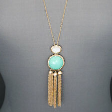 Long Gold Chain Mint Green Thin Tassel Designer Inspired Pendant Necklace