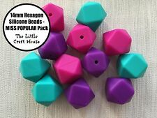 12 x 14mm Silicone Beads Hexagon MISS POP Mix Necklace Sensory (was teething)
