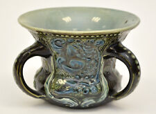 ANTIQUE H BRANNAM BARUM POTTERY 3 Handled Vase Fish Blue Green c1898