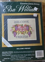 "Welcome Friends Elsa Williams Counted Cross Stitch Kit 28ct Irish Linen 12""x9"""