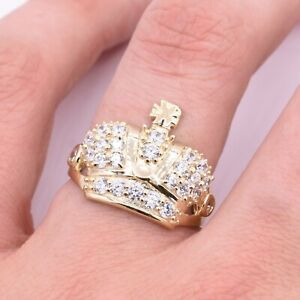 Men's King Crown CZ Ring Real Solid 10K Yellow Gold Size 10.5