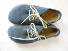 Birkenstock Closed Toe Shoe Blue Suede Laces Size 37 6 Ladies 4 Men Narrow Width