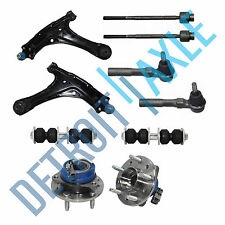 Control Arm + Ball Joint + Inner Outer Tie Rod + Sway Bar Link + Wheel Hub w/ABS